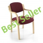 Beech framed conference chair with arms