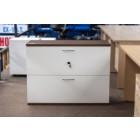 2 Drawer 1000W Side Filing Cabinet WHITE & WALNUT